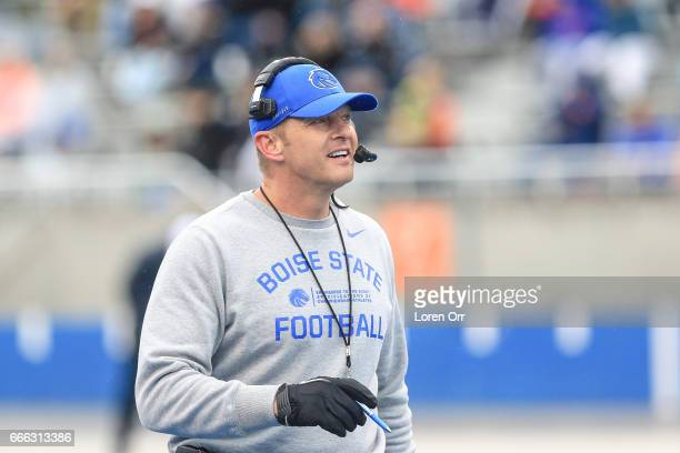 Head coach Brian Harsin of the Boise State Broncos looks on during first half action at the Boise State Broncos spring game on April 8 2017 at...