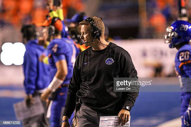 Head coach Brian Harsin of the Boise State Broncos pacing the sidelines during second half action on September 4 2015 at Albertsons Stadium in Boise...