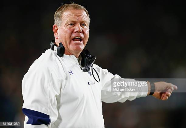 Head coach Brian Kelly of the Notre Dame Fighting Irish is seen during the game against the Stanford Cardinal at Notre Dame Stadium on October 15...