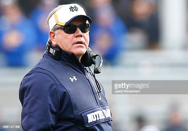 Head coach Brian Kelly of the Notre Dame Fighting Irish looks on against the Pittsburgh Panthers during the game at Heinz Field on November 7 2015 in...