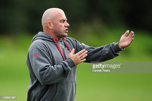 Head coach Brian McClennan gives instructions during a New Zealand Warriors NRL training session at Otahuhu College on April 30 2012 in Auckland New...