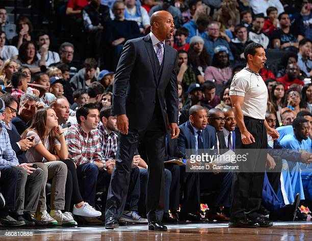 Head Coach Brian Shaw of the Denver Nuggets directs his team against the Brooklyn Nets on December 23 2014 at the Barclays Center in Brooklyn NY NOTE...