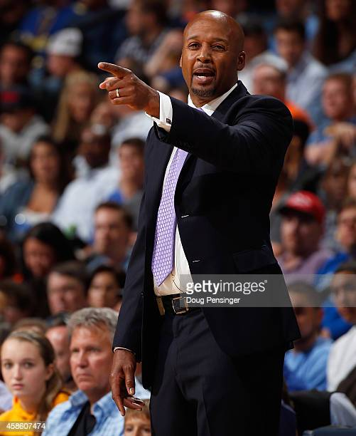 Head coach Brian Shaw of the Denver Nuggets leads his team against the Cleveland Cavaliers at Pepsi Center on November 7 2014 in Denver Colorado The...