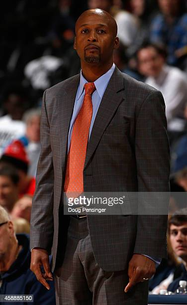 Head coach Brian Shaw of the Denver Nuggets leads his team against the Portland Trail Blazers at Pepsi Center on November 12 2014 in Denver Colorado...