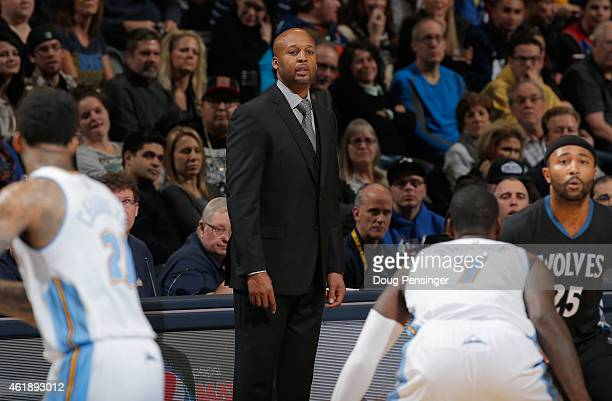 Head coach Brian Shaw of the Denver Nuggets leads his team against the Minnesota Timberwolves at Pepsi Center on January 17 2015 in Denver Colorado...