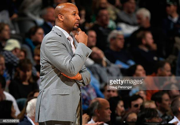 Head coach Brian Shaw of the Denver Nuggets leads his team against the Boston Celtics at Pepsi Center on January 23 2015 in Denver Colorado The...