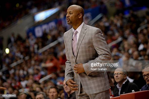 Head coach Brian Shaw of the Denver Nuggets looks on during a game against the Los Angeles Clippers at Staples Center on April 15 2014 in Los Angeles...