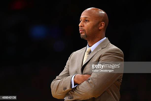 Head Coach Brian Shaw of the Denver Nuggets looks on from the side line during the NBA game against the Los Angeles Lakers at Staples Center on...