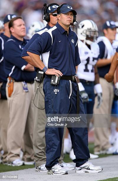 Head Coach Bronco Mendenhall of the BYU Cougars looks on from the sideline during their game against the Washington Huskies on September 6, 2008 at...
