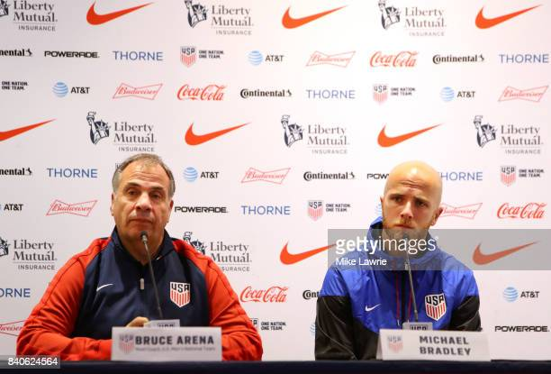 Head coach Bruce Arena and Michael Bradley speak during a United States men's national team soccer press conference ahead of Friday's World Cup...