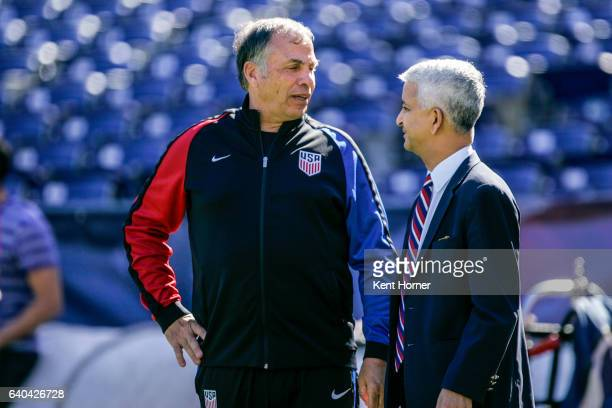 Head coach Bruce Arena and United States Soccer Federation President Sunil Gulati together during pregame warmups prior to the match against Serbia...