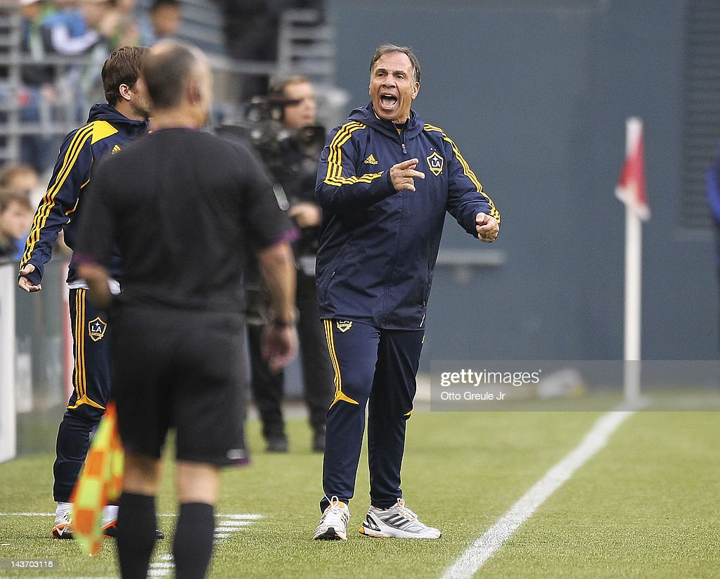 Head coach Bruce Arena of the Los Angeles Galaxy gestures during the match against the Seattle Sounders at CenturyLink Field on May 2, 2012 in Seattle, Washington. The Sounders defeated the Galaxy 2-0.