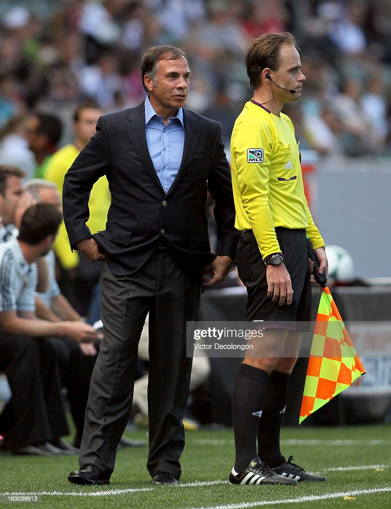 Head Coach Bruce Arena of the Los Angeles Galaxy has words for the referee's assistant during their MLS match against the Chicago Fire at The Home Depot Center on March 3, 2013 in Carson, California. The Galaxy defeated the Fire 4-0.