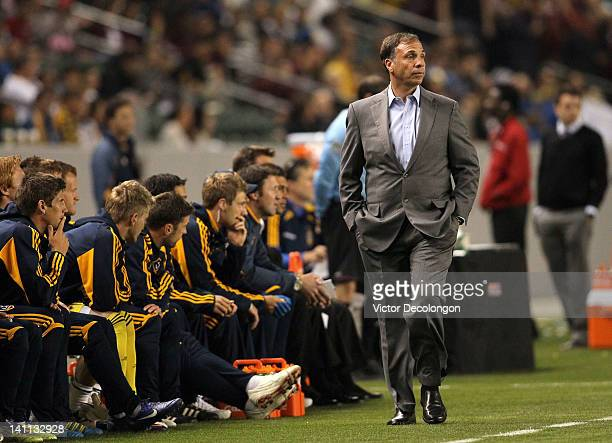 Head Coach Bruce Arena of the Los Angeles Galaxy paces the sideline during their MLS match against Real Salt Lake at The Home Depot Center on March...