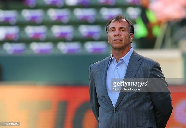 Head Coach Bruce Arena of the Los Angeles Galaxy watches his team warmup prior to their MLS match against Chivas USA at The Home Depot Center on...