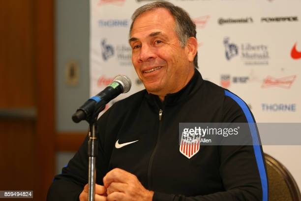 Head coach Bruce Arena speaks during the United States mens national team prematch press conference at the Hyatt Regency Hotel on October 9 2017 in...