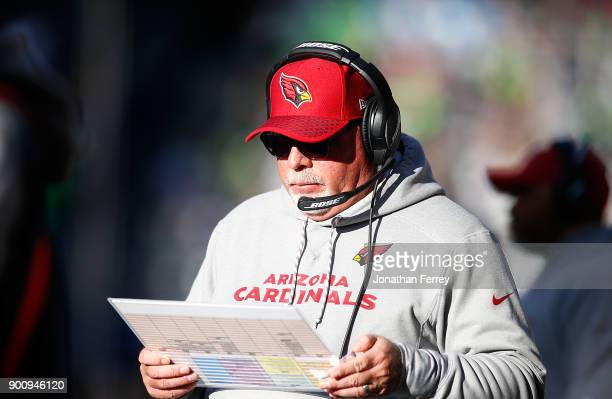Head Coach Bruce Arians of the Arizona Cardinals against the Seattle Seahawks at CenturyLink Field on December 31 2017 in Seattle Washington