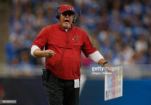 Head coach Bruce Arians of the Arizona Cardinals argues a second quarter call while playing the Detroit Lions at Ford Field on October 11 2015 in...