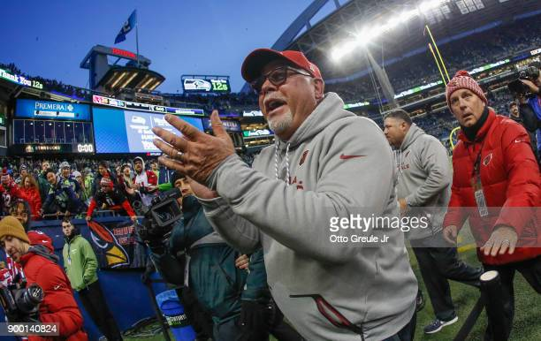 Head coach Bruce Arians of the Arizona Cardinals heads off the field after a 2624 win over the Seattle Seahawks at CenturyLink Field on December 31...