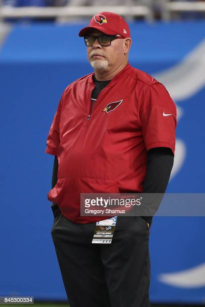 Head coach Bruce Arians of the Arizona Cardinals is seen during warm ups before the game against Detroit Lions at Ford Field on September 10 2017 in...