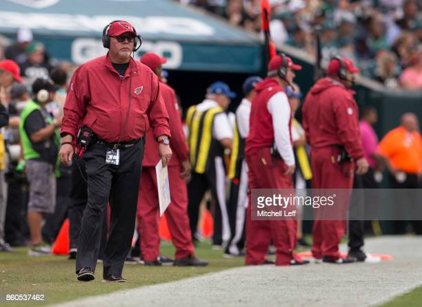 Head coach Bruce Arians of the Arizona Cardinals looks on against the Philadelphia Eagles at Lincoln Financial Field on October 8 2017 in...
