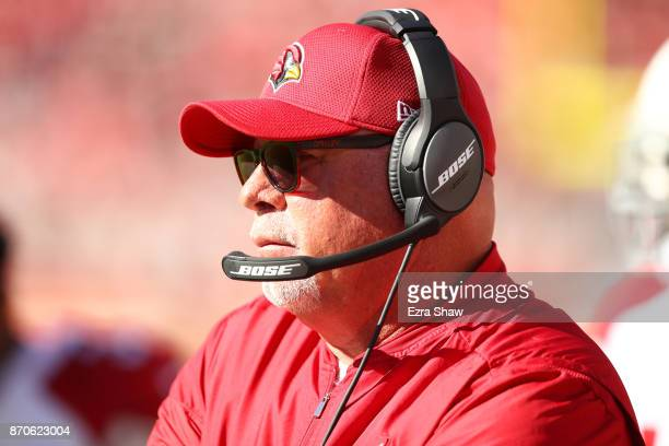 Head coach Bruce Arians of the Arizona Cardinals looks on against the San Francisco 49ers during their NFL game at Levi's Stadium on November 5 2017...