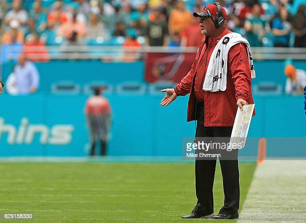 Head coach Bruce Arians of the Arizona Cardinals looks on during a game against the Miami Dolphins at Hard Rock Stadium on December 11 2016 in Miami...
