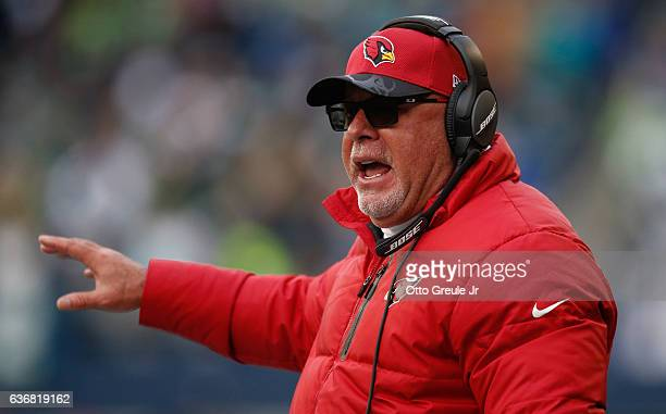 Head coach Bruce Arians of the Arizona Cardinals looks on during the game against the Seattle Seahawks at CenturyLink Field on December 24 2016 in...