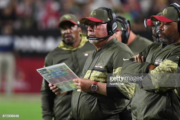 Head coach Bruce Arians of the Arizona Cardinals looks on during the NFL game against the Seattle Seahawks at University of Phoenix Stadium on...