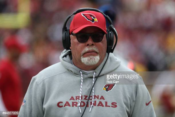 Head coach Bruce Arians of the Arizona Cardinals looks on from the sideline during the second quarter against the Washington Redskins at FedEx Field...
