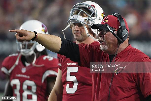 Head coach Bruce Arians of the Arizona Cardinals reacts on the field during the NFL game against the Seattle Seahawks at University of Phoenix...