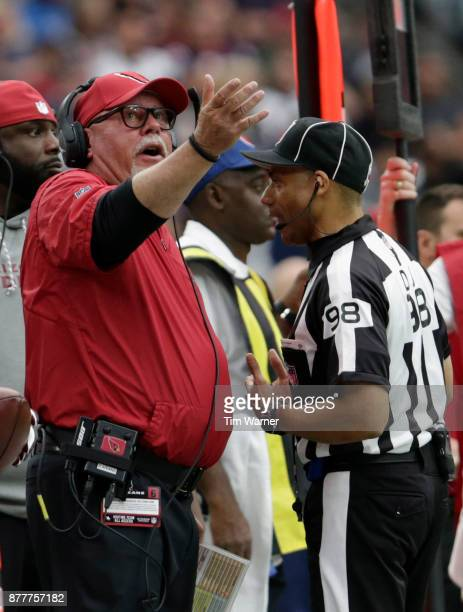 Head coach Bruce Arians of the Arizona Cardinals reacts to a penalty in the first half against the Houston Texans at NRG Stadium on November 19 2017...