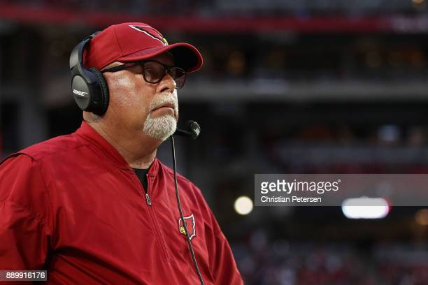 Head coach Bruce Arians of the Arizona Cardinals watches from the sidelines during the second half of the NFL game against the Tennessee Titans at...