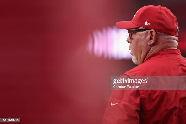 Head coach Bruce Arians of the Arizona Cardinals watches warm ups before the NFL game against the Los Angeles Rams at the University of Phoenix...