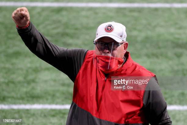 Head coach Bruce Arians of the Tampa Bay Buccaneers celebrates after defeating the Atlanta Falcons in the game at Mercedes-Benz Stadium on December...
