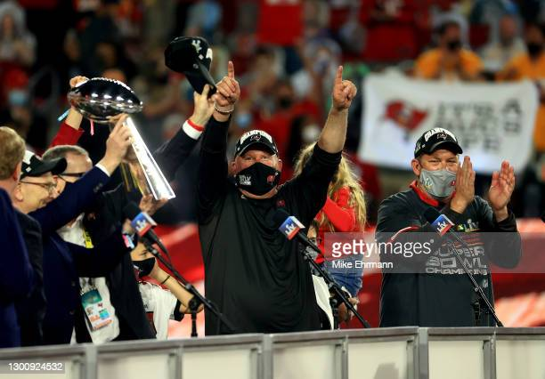 Head coach Bruce Arians of the Tampa Bay Buccaneers celebrates after defeating the Kansas City Chiefs in Super Bowl LV at Raymond James Stadium on...