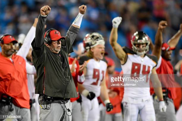 Head coach Bruce Arians of the Tampa Bay Buccaneers during their game against the Carolina Panthers at Bank of America Stadium on September 12 2019...
