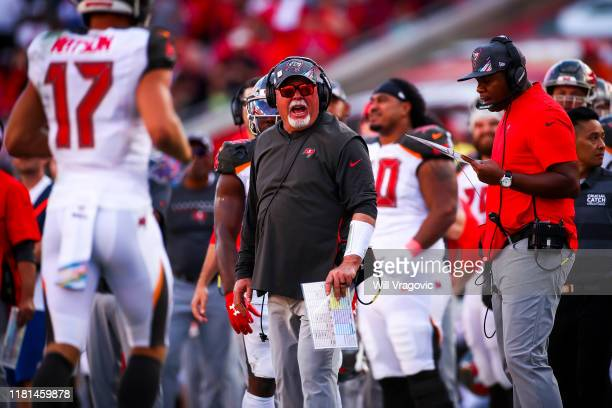 Head coach Bruce Arians of the Tampa Bay Buccaneers looks for a pass interference call in the fourth quarter during the game against the Arizona...