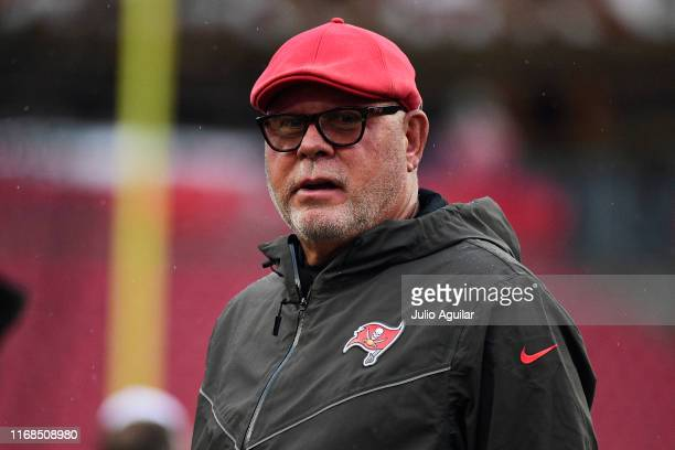 Head coach Bruce Arians of the Tampa Bay Buccaneers looks on during warmups before a preseason football game against the Miami Dolphins at Raymond...