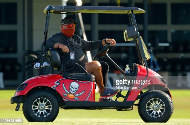 Head coach Bruce Arians of the Tampa Bay Buccaneers looks on during training camp at AdventHealth Training Center on August 13, 2020 in Tampa,...