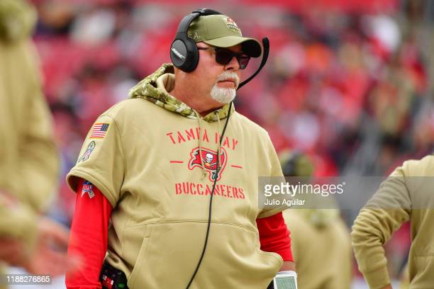 head coach Bruce Arians of the Tampa Bay Buccaneers looks on from the sideline during the second quarter of a football game against the New Orleans...