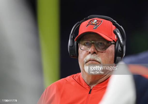 Head coach Bruce Arians of the Tampa Bay Buccaneers looks on in the third quarter during a game against the Detroit Lions at Ford Field on December...