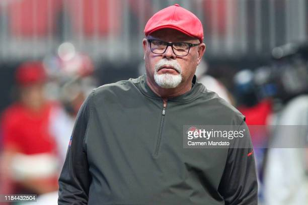 Head coach Bruce Arians of the Tampa Bay Buccaneers looks on prior to a game against the Atlanta Falcons at Mercedes-Benz Stadium on November 24,...