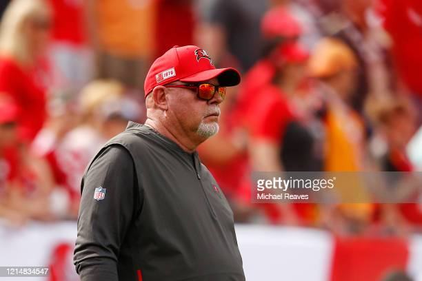 Head coach Bruce Arians of the Tampa Bay Buccaneers looks on prior to the game against the Atlanta Falcons at Raymond James Stadium on December 29...