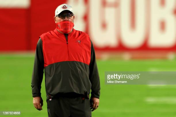 Head coach Bruce Arians of the Tampa Bay Buccaneers looks on prior to facing the Los Angeles Rams at Raymond James Stadium on November 23, 2020 in...
