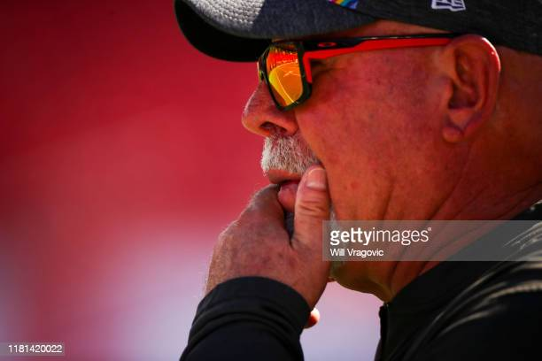 Head coach Bruce Arians of the Tampa Bay Buccaneers looks on the field before the game against the Arizona Cardinals at Raymond James Stadium on...