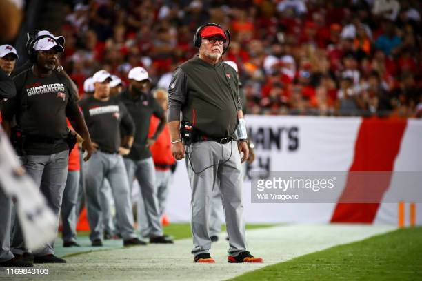 Head coach Bruce Arians of the Tampa Bay Buccaneers on the sideline during the second quarter of the preseason game against the Cleveland Browns at...