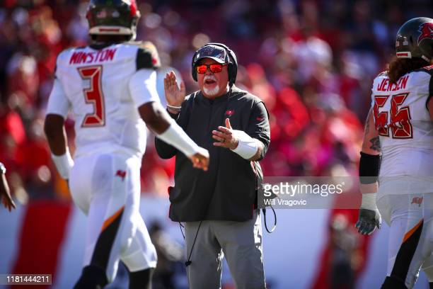 Head coach Bruce Arians of the Tampa Bay Buccaneers reacts after the second quarter touchdown with 8 seconds remaining during the game against the...