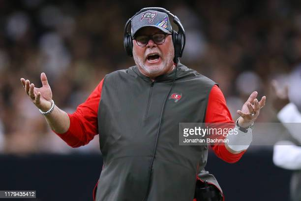 Head coach Bruce Arians of the Tampa Bay Buccaneers reacts during the first half of a game against the New Orleans Saints at the Mercedes Benz...