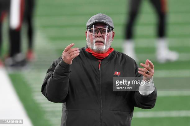 Head coach Bruce Arians of the Tampa Bay Buccaneers reacts during the first half against the New York Giants at MetLife Stadium on November 02, 2020...